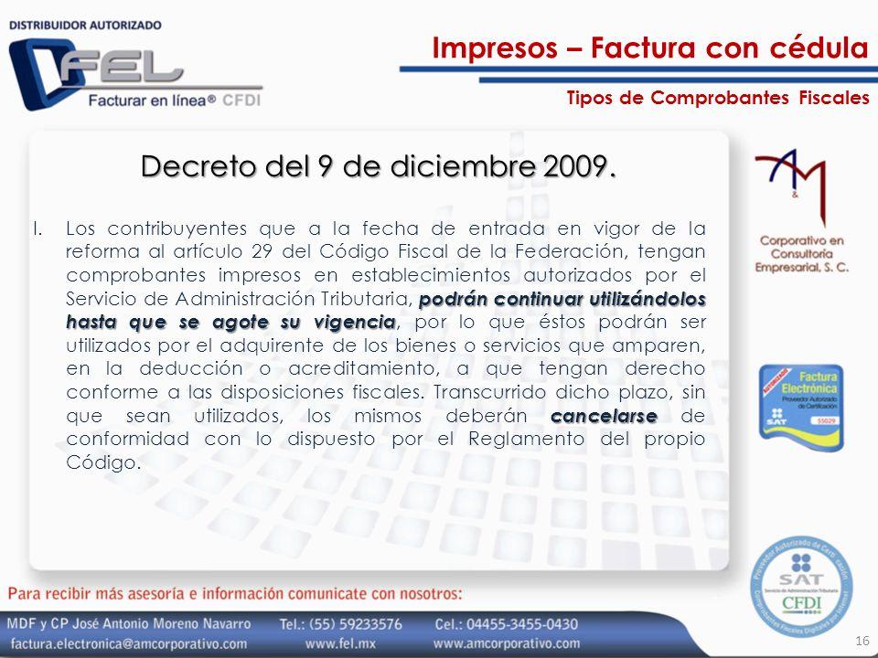 Decreto del 9 de diciembre 2009.