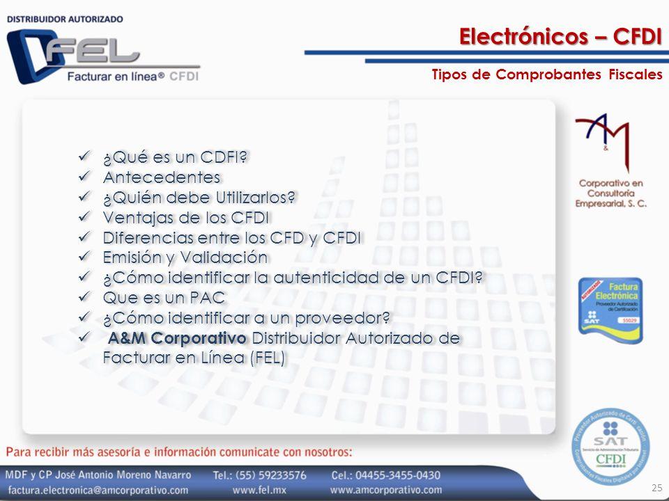 Electrónicos – CFDI ¿Qué es un CDFI Antecedentes
