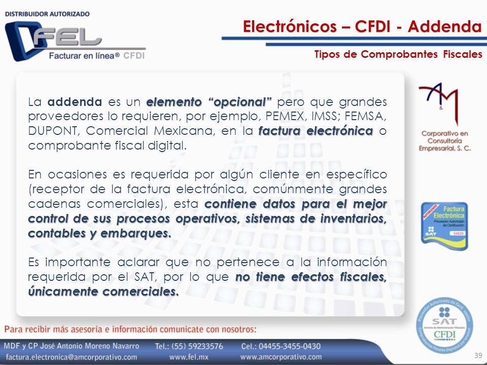 Electrónicos – CFDI - Addenda