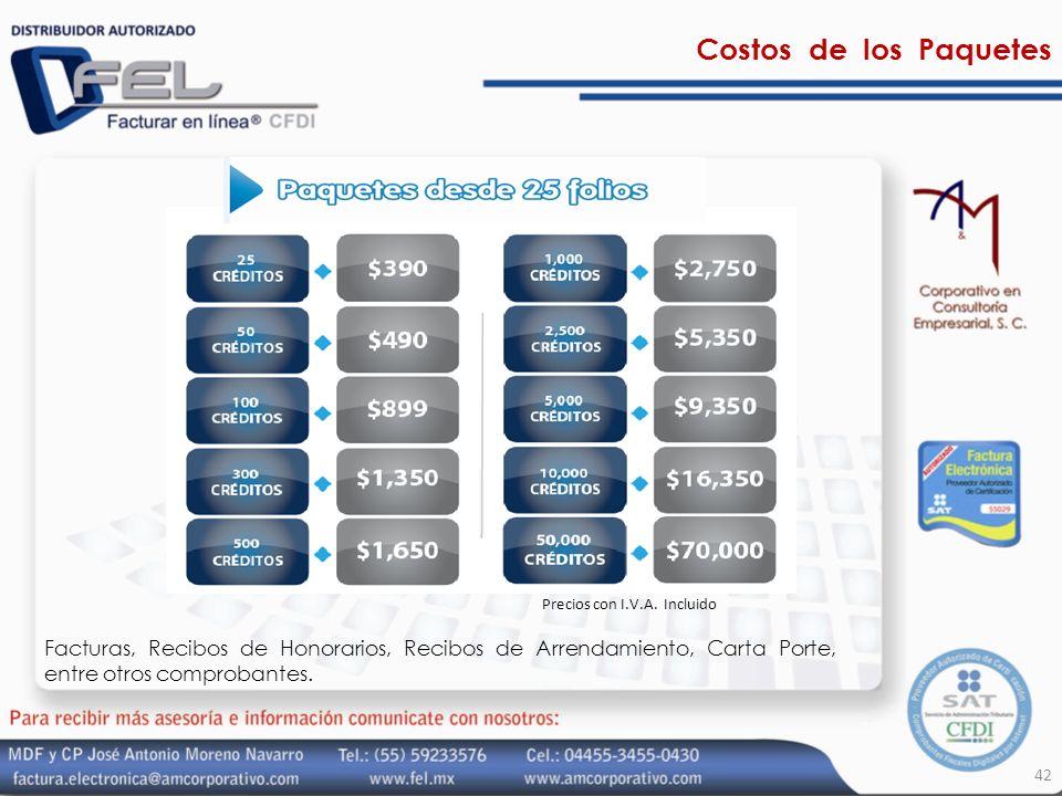 Costos de los Paquetes Precios con I.V.A. Incluido.