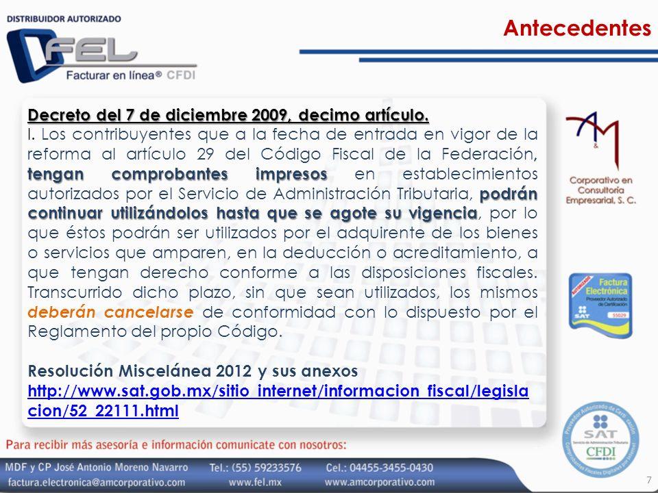 Antecedentes Decreto del 7 de diciembre 2009, decimo artículo.