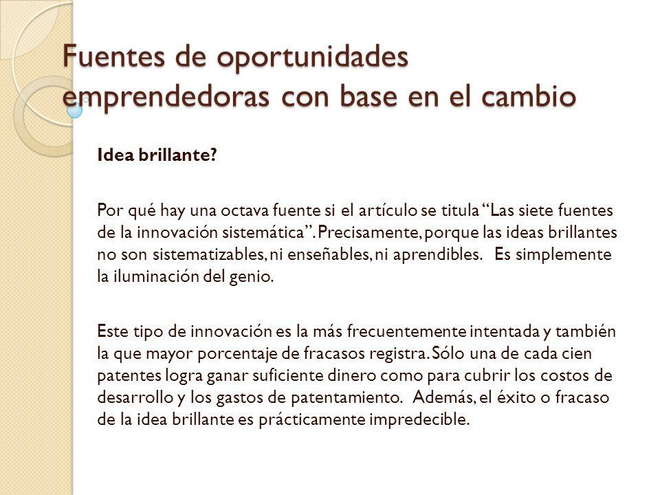 Fuentes de oportunidades emprendedoras con base en el cambio