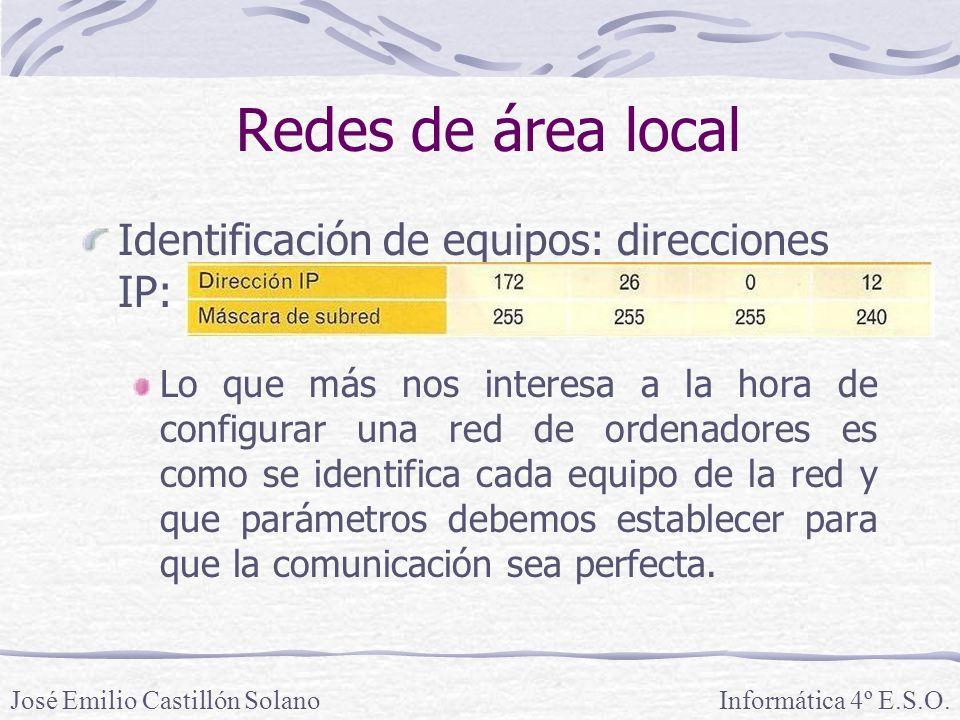 Redes de área local Identificación de equipos: direcciones IP:
