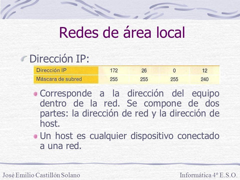 Redes de área local Dirección IP: