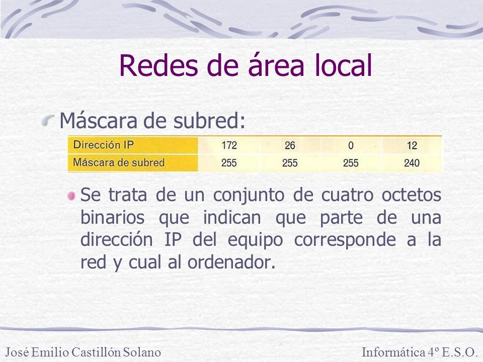 Redes de área local Máscara de subred: