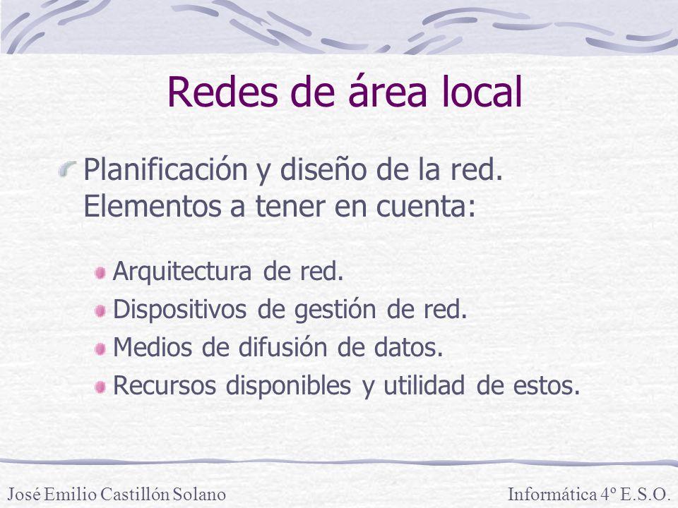 Redes de área local Planificación y diseño de la red. Elementos a tener en cuenta: Arquitectura de red.