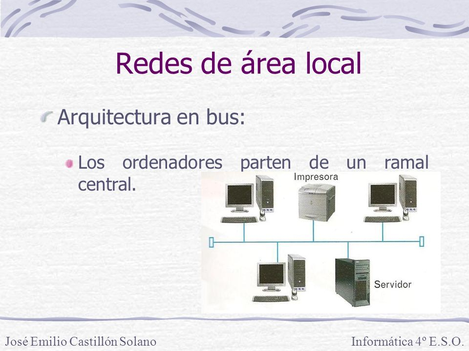 Redes de área local Arquitectura en bus: