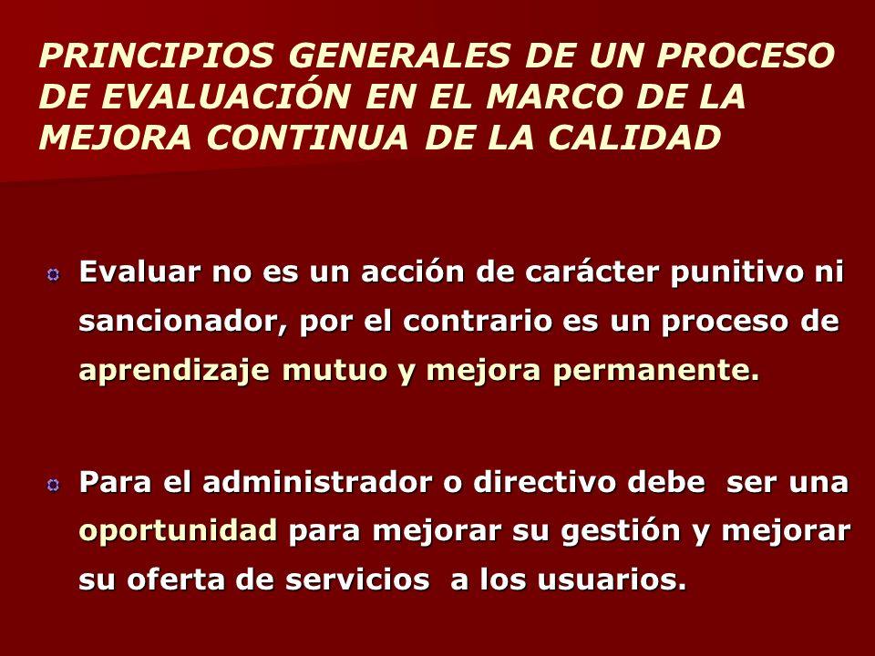 PRINCIPIOS GENERALES DE UN PROCESO DE EVALUACIÓN EN EL MARCO DE LA MEJORA CONTINUA DE LA CALIDAD