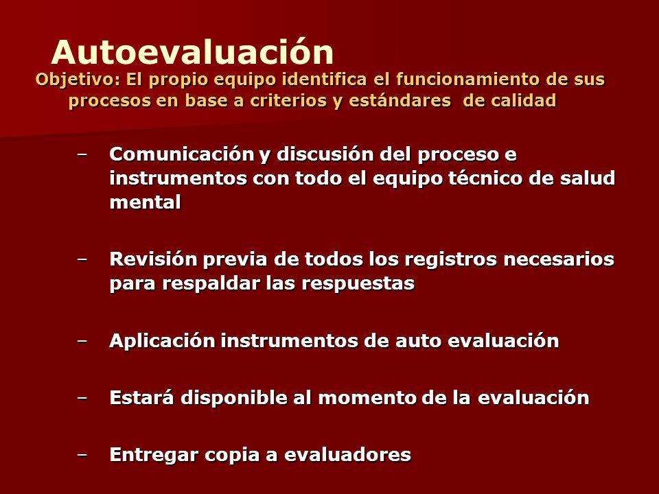 Autoevaluación Objetivo: El propio equipo identifica el funcionamiento de sus procesos en base a criterios y estándares de calidad.
