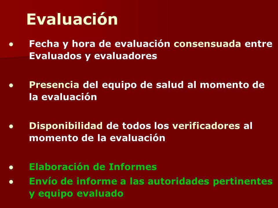 Evaluación Fecha y hora de evaluación consensuada entre Evaluados y evaluadores. Presencia del equipo de salud al momento de la evaluación.