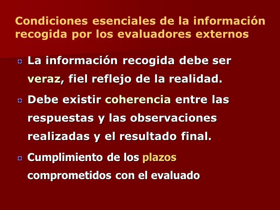 Condiciones esenciales de la información recogida por los evaluadores externos
