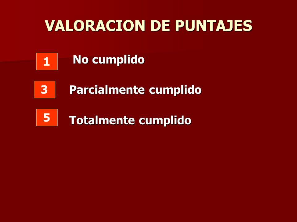 VALORACION DE PUNTAJES