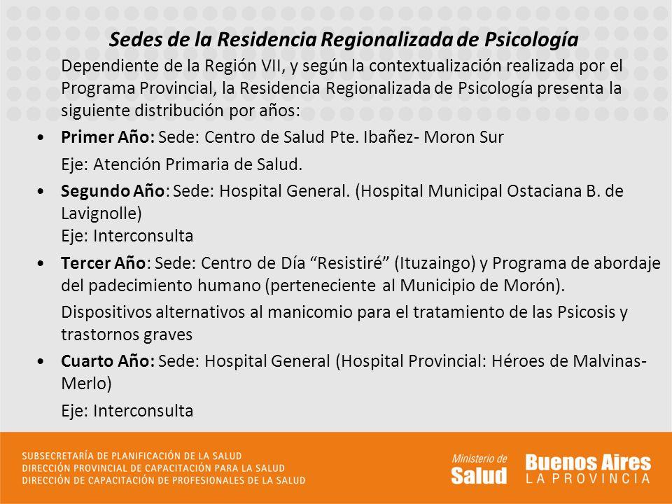 Sedes de la Residencia Regionalizada de Psicología
