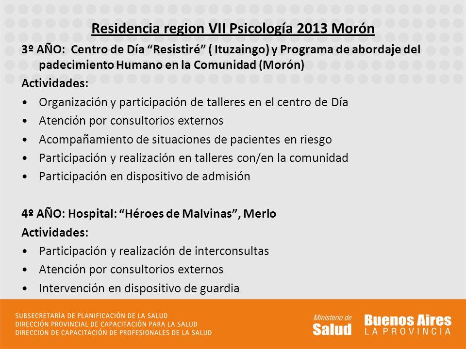 Residencia region VII Psicología 2013 Morón
