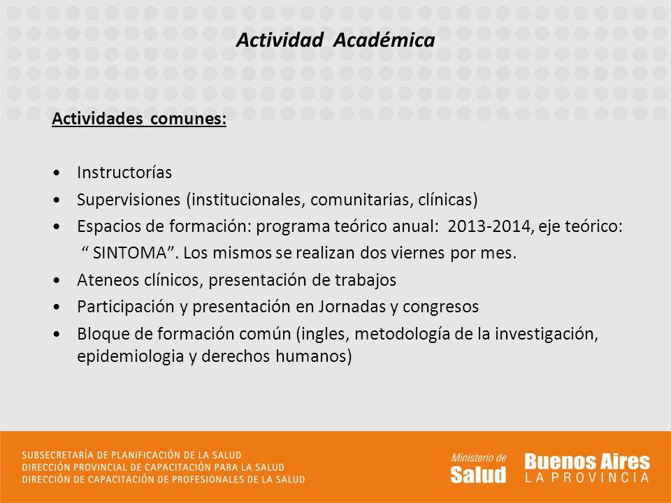 Actividad Académica Actividades comunes: Instructorías