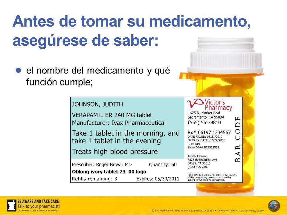 Antes de tomar su medicamento, asegúrese de saber: