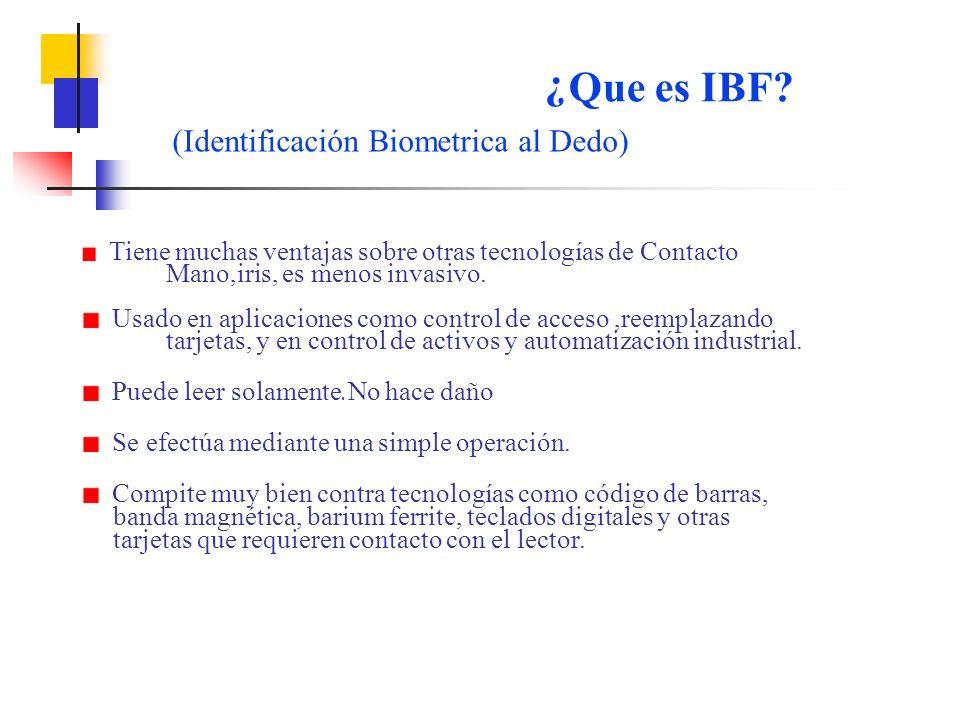 Que es IBF (Identificación Biometrica al Dedo)