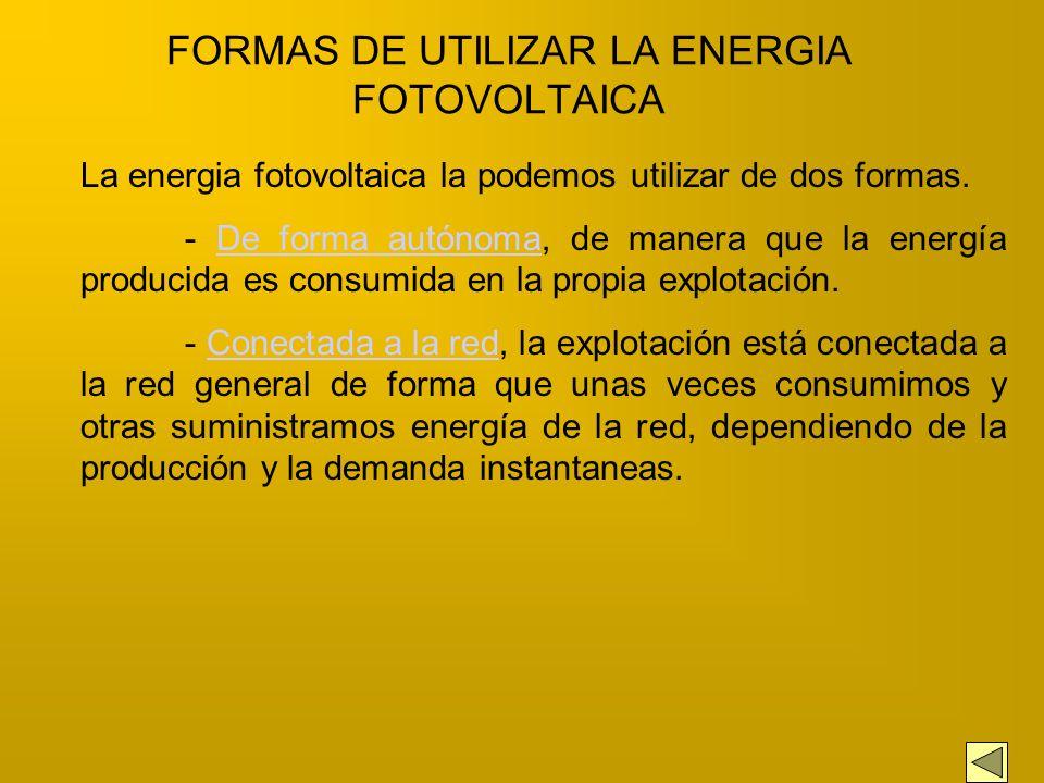 FORMAS DE UTILIZAR LA ENERGIA FOTOVOLTAICA
