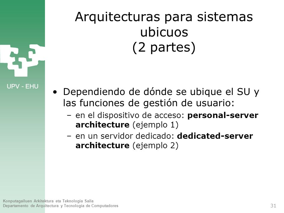 Arquitecturas para sistemas ubicuos (2 partes)