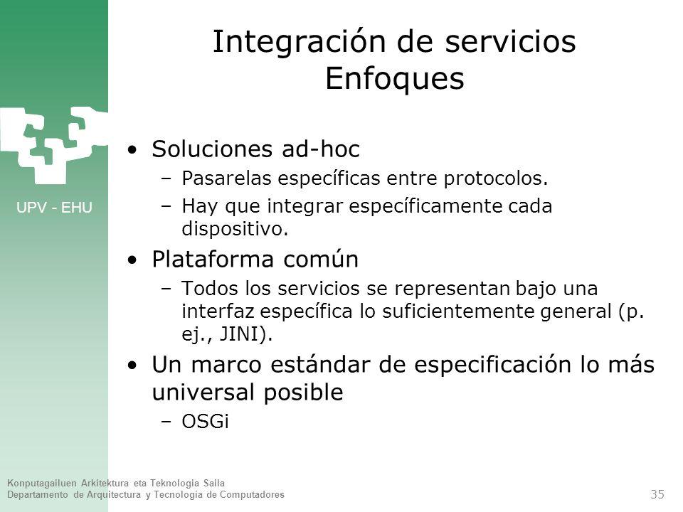 Integración de servicios Enfoques