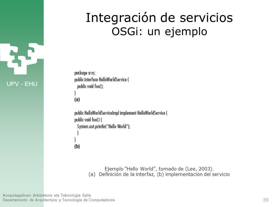 Integración de servicios OSGi: un ejemplo