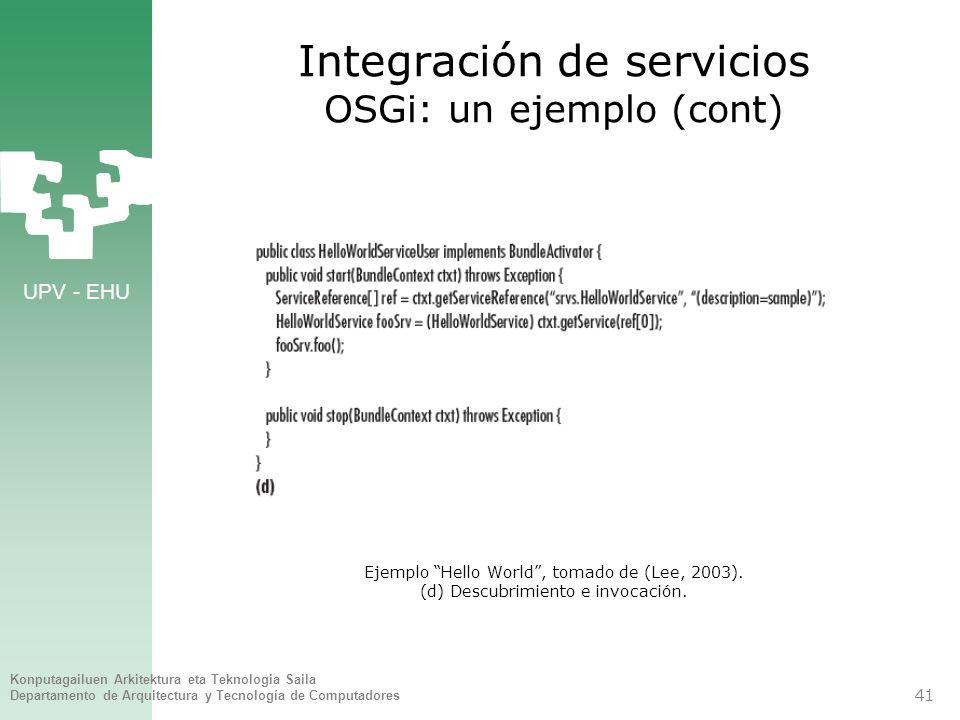 Integración de servicios OSGi: un ejemplo (cont)