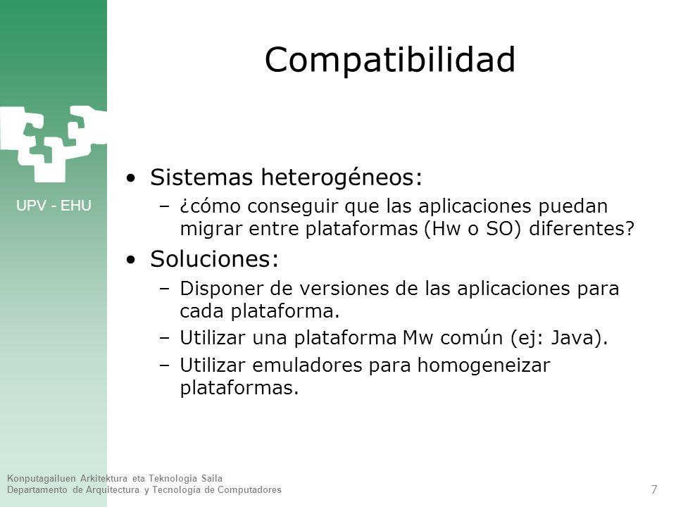 Compatibilidad Sistemas heterogéneos: Soluciones: