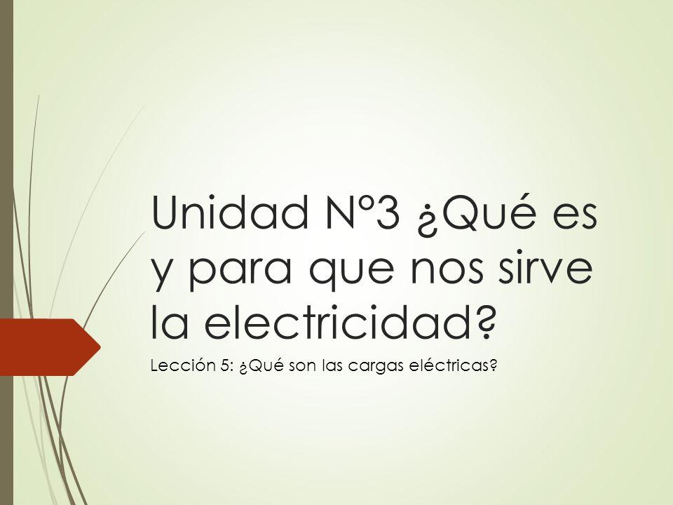 Unidad N°3 ¿Qué es y para que nos sirve la electricidad