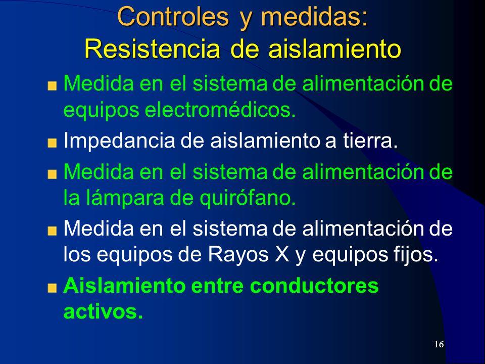 Controles y medidas: Resistencia de aislamiento
