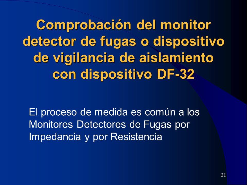 Comprobación del monitor detector de fugas o dispositivo de vigilancia de aislamiento con dispositivo DF-32