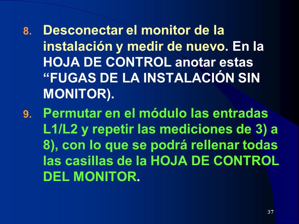 Desconectar el monitor de la instalación y medir de nuevo
