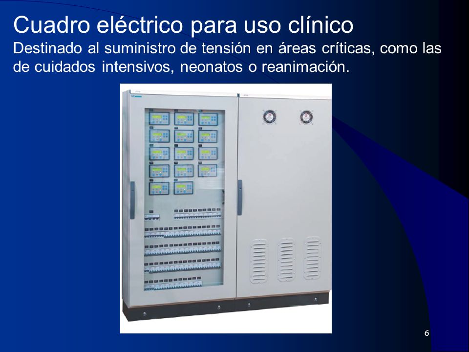Cuadro eléctrico para uso clínico