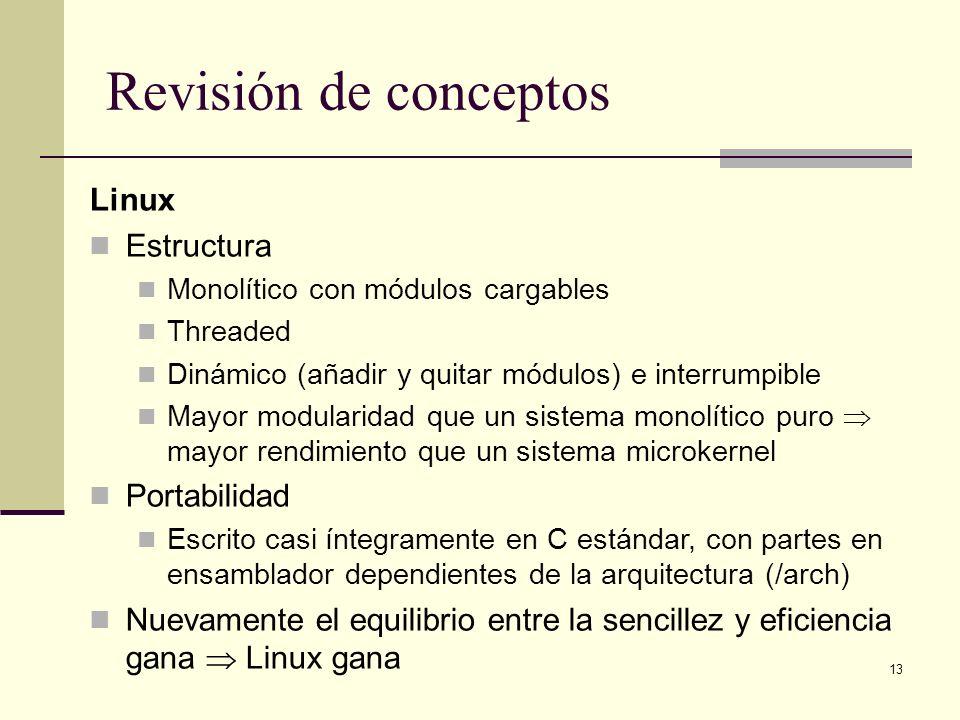 Revisión de conceptos Linux Estructura Portabilidad