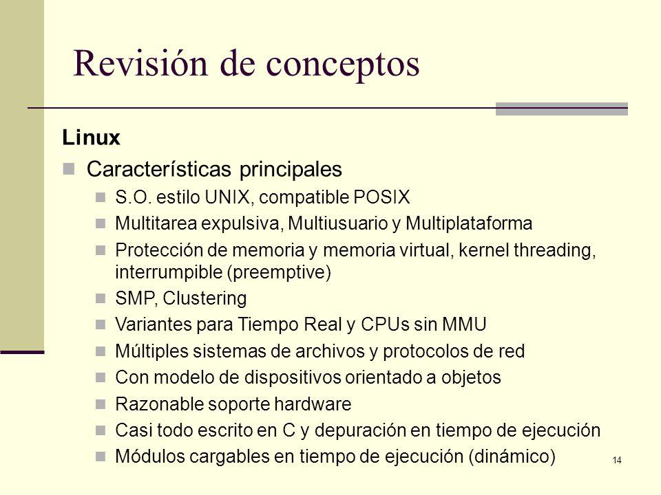 Revisión de conceptos Linux Características principales