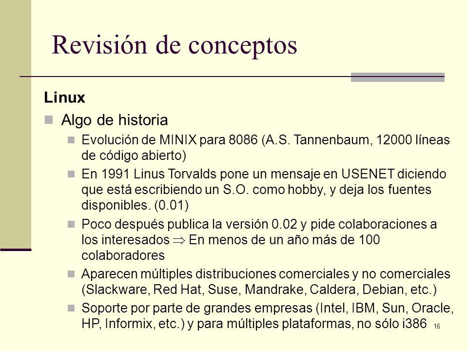 Revisión de conceptos Linux Algo de historia