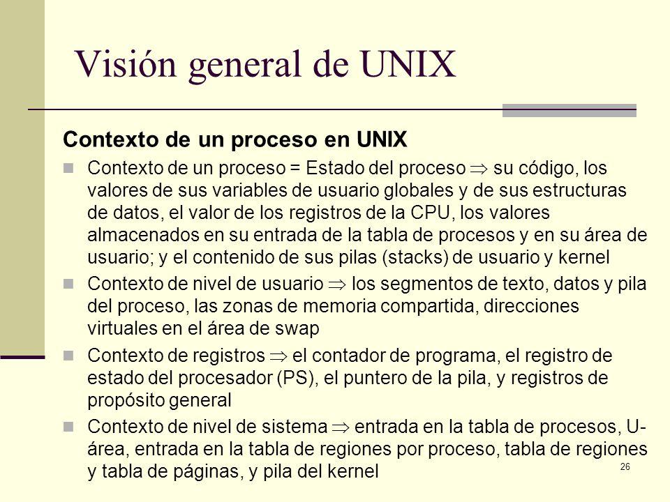 Visión general de UNIX Contexto de un proceso en UNIX