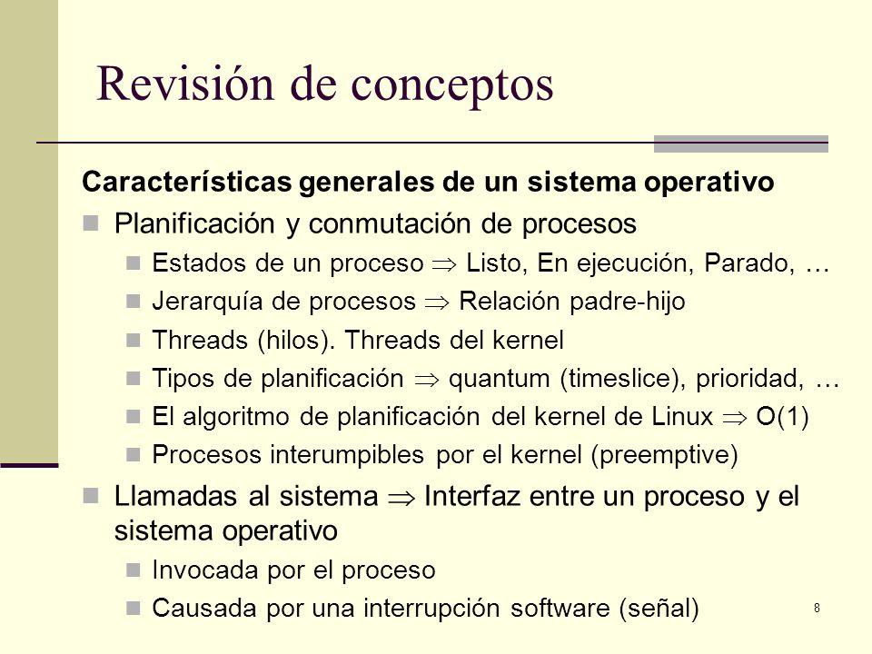Revisión de conceptos Características generales de un sistema operativo. Planificación y conmutación de procesos.