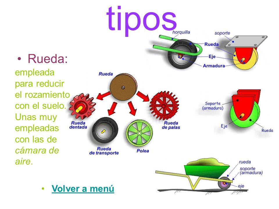 tipos Rueda: empleada para reducir el rozamiento con el suelo. Unas muy empleadas con las de cámara de aire.