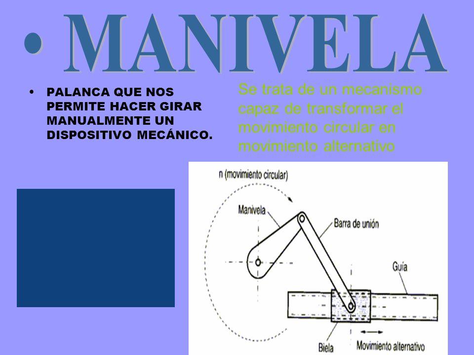 MANIVELA Se trata de un mecanismo capaz de transformar el movimiento circular en movimiento alternativo.