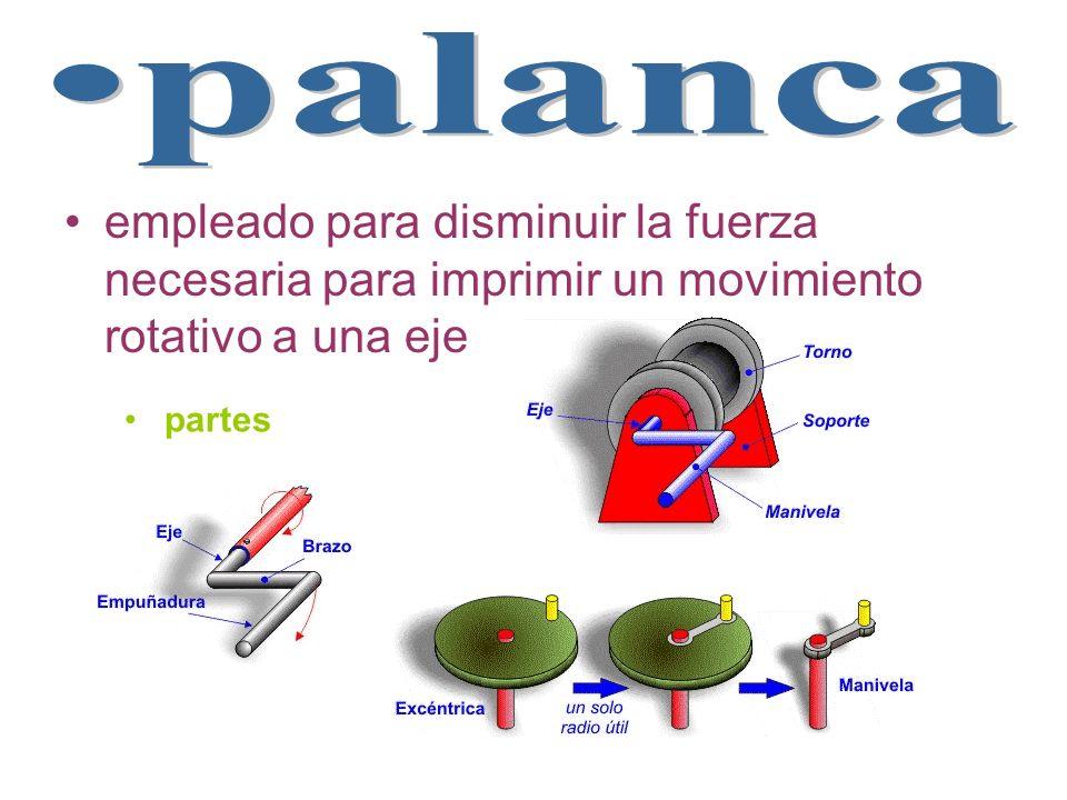 palancaempleado para disminuir la fuerza necesaria para imprimir un movimiento rotativo a una eje.