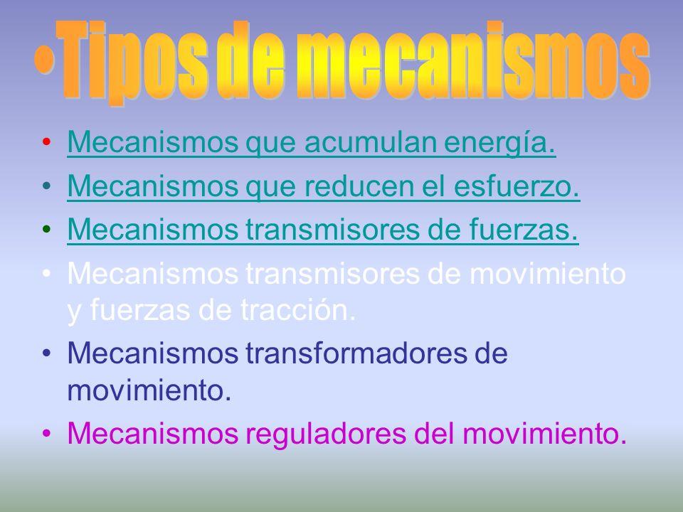 Tipos de mecanismos Mecanismos que acumulan energía.