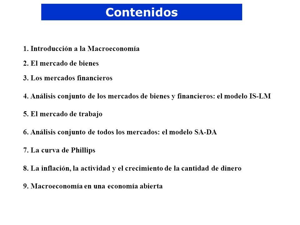Contenidos 1. Introducción a la Macroeconomía 2. El mercado de bienes