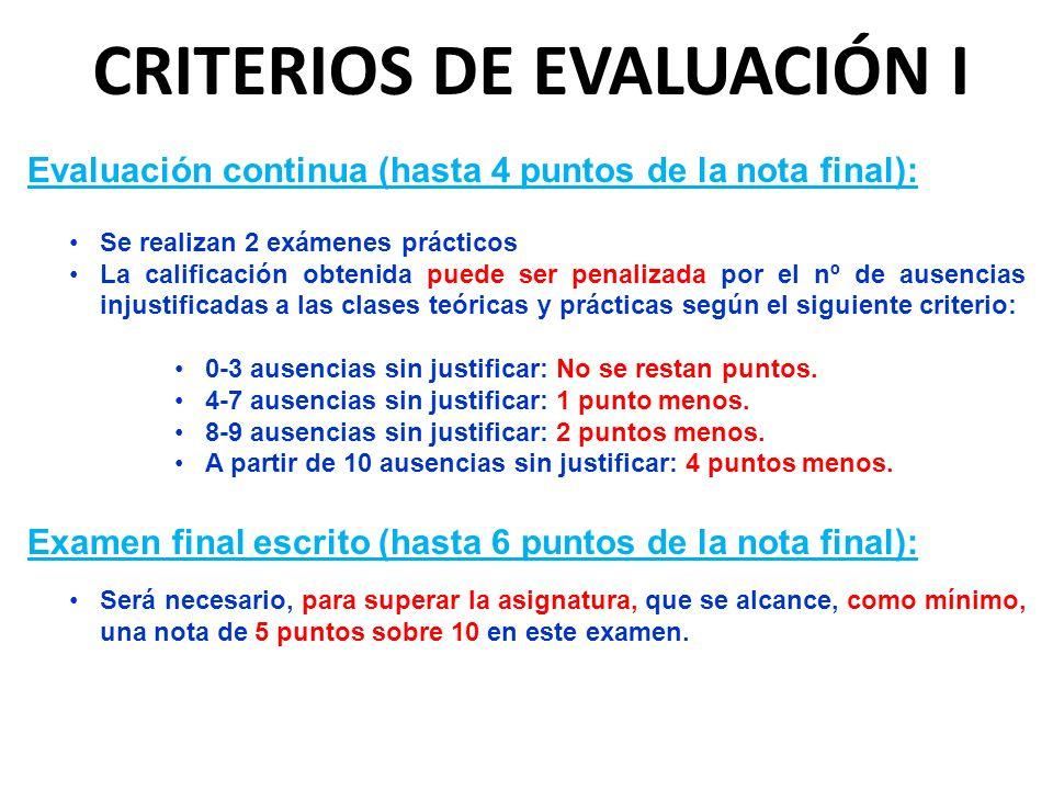 CRITERIOS DE EVALUACIÓN I
