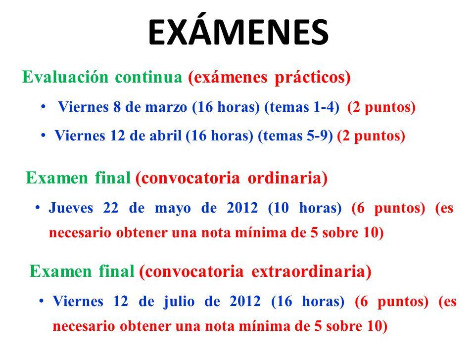 EXÁMENES Evaluación continua (exámenes prácticos)