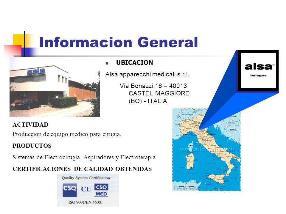 Informacion General CE UBICACION Alsa apparecchi medicali s.r.l.