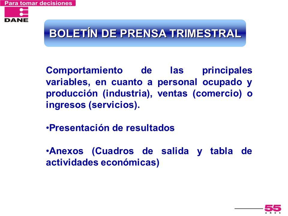BOLETÍN DE PRENSA TRIMESTRAL