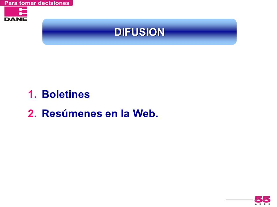 DIFUSION Boletines Resúmenes en la Web.