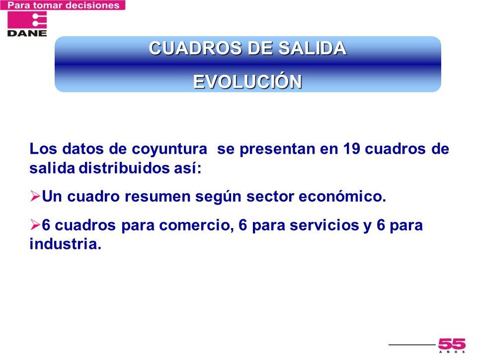CUADROS DE SALIDA EVOLUCIÓN