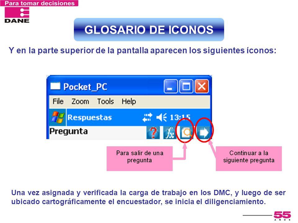 GLOSARIO DE ICONOS Y en la parte superior de la pantalla aparecen los siguientes íconos: