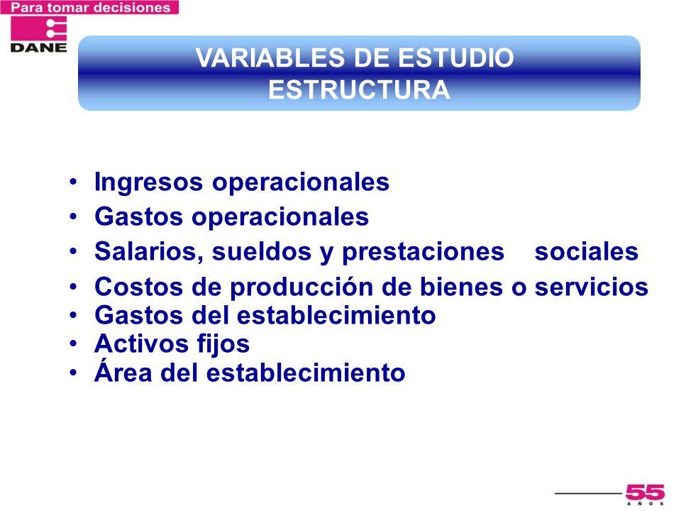 VARIABLES DE ESTUDIO ESTRUCTURA. Ingresos operacionales. Gastos operacionales. Salarios, sueldos y prestaciones sociales.